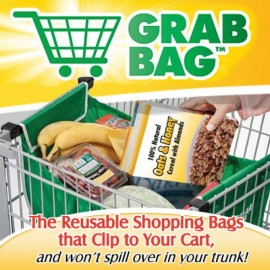Grab Bag Reusable Shopping Bag That Clip to Your Cart 2 Pack
