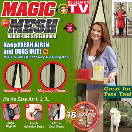 Magic Mesh Magnetic Screen Door Cover with 18 Magnets