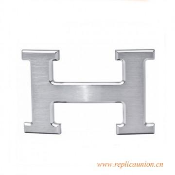 Original 3.2cm Width H Buckle Silver Platinum with Orange Buckle Box