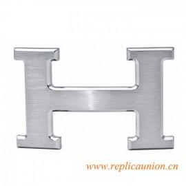 Original H Buckle No18k Engraving Silver Platinum with Orange Buckle Box