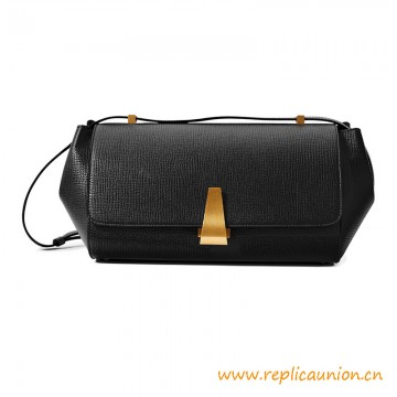 Top Quality Long Trapezoidal Angle Shoulder Bag in Grainy Treated Calfskin