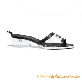 Top Quality Mules PVC Black Lambskin Packshot Heel Height