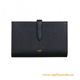 Top Quality Large Strap Wallet in Grained 100% Calfskin
