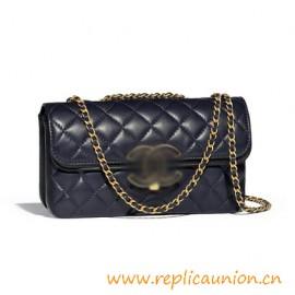 Authentci Design Lambskin and Gold-Tone Metal Flap Bag