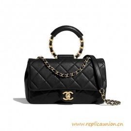 Top Quality Flap Bag Lambskin Black Gold Metal