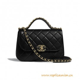 Top Quality Flap Bag with Top Handle  Lambskin Gold-Tone Metal
