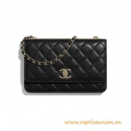 Top Quality Wallet on Chain Lambskin Black