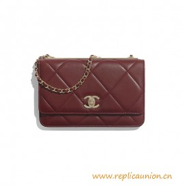 Top Quality Wallet on Chain Lambskin Gold-Tone Metal