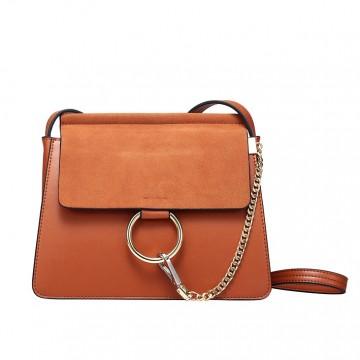 Leather Handbag New Wild Shoulder Leather Bag Ring Scrub Messenger Bag