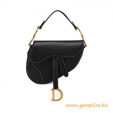 Top Quality Saddle Bag in Black Calfskin in Aged Gold-tone Metal