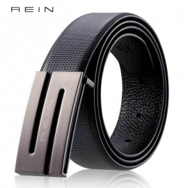 REIN Leather Belt Men 's Belt Smooth Buckle Belt Business Casual Leather Belt