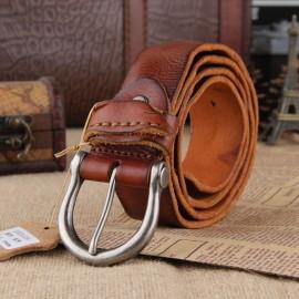 Retro Leather Belt Mens Belt Italy Made Leather Belt No Logo