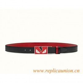 Original Quality Reversible Belt in Black Smooth Calfskin with Brick Red Back
