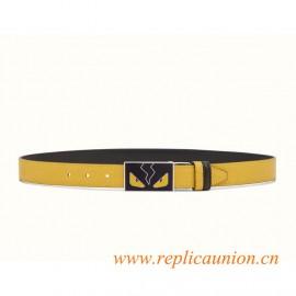 Original Quality Reversible Belt in Elite Calfskin Enameled Buckle with Cufflink Closure