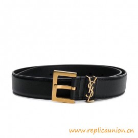 Top Quality Monogram Belt in Black Leather