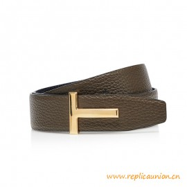 Top Quality T Icon Mens Leather Reversible Belt