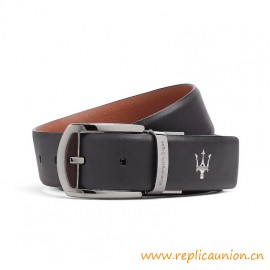 Top Quality Smooth Leather Maserati Belt With Metallic Buckle