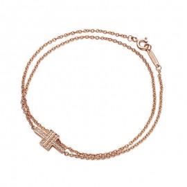 Original Quality Two Double Chain Bracelet with Brilliant Diamonds