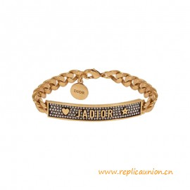Top Quality J Bracelet in aged Gold-tone finish Metal and White Crystals