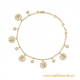 Higt End Rose des Vents Bracelet 18K Yellow Gold with Diamonds