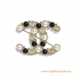 Top Quality Brooch Glass Pearls Imitation Pearls Pearly White Black Crystal