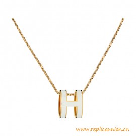 High End Pop H Lacquered Pendant with Gold Plated Hardware