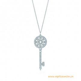 High End Petals Key Pendant with Round Brilliant Diamonds in Platinum