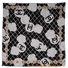 Original Quality Silk Camellia Scarf White Black with Scarf Box