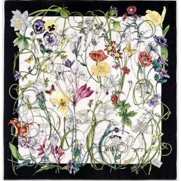 Original Design Quality Flora Infinity Print Silk Foulard Scarf
