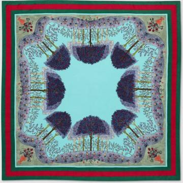 Original Design Forest Print Silk Scarf for Women