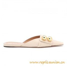 Top Quality Backless Design Lambskin Slippers Golden Bauble