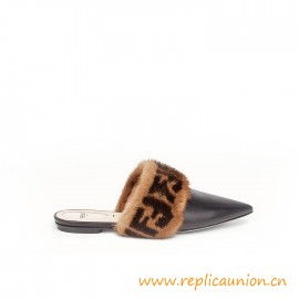 Top Quality Black Calfskin Leather Sabots Leather sole