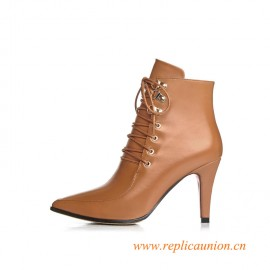 Fall and Winter Fashion Style Zipper Leather High-heeled Solid Color Women Boots