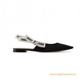 Top Quality Ballerina in Black Technical Canvas 1 CM Heel