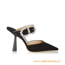Top Quality SMOKEY 100 Black Suede Pump with Jewelled Buckle