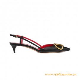Top Quality Calfskin Slingback Pump Heel Height 40 mm