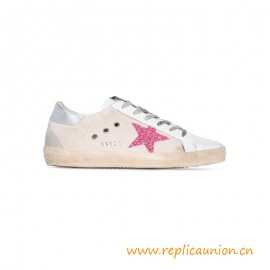 Top Quality Golden Shoes with Glittery Star Silver Leather