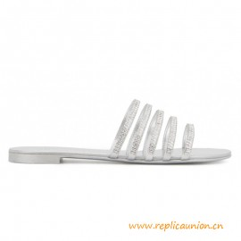 Top Quality Silver Laminated Leather Michela Sandals