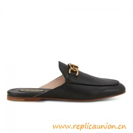 Top Quality Mules in Elegant Smooth Leather with Double T Metal Clamp