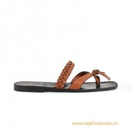 Top Quality Paula Braided Flat Sandal Tan Calf Straps