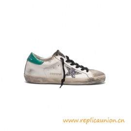 Top Quality Superstar Sneakers in Leather with Glittery Star