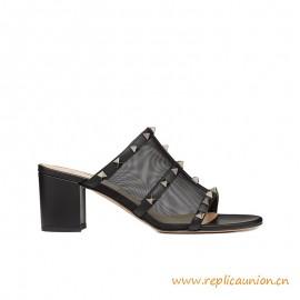 Top Quality Rockstud Mesh Slide Sandal 60 mm Black