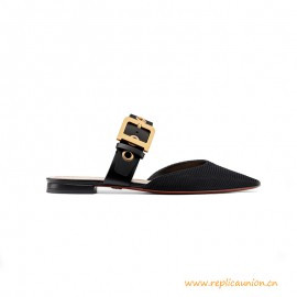 Top Quality Technical Canvas and Calfskin Leather Mule