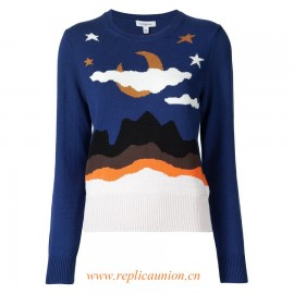 Original Qaulity Women's Moon Stars Clouds Jumper