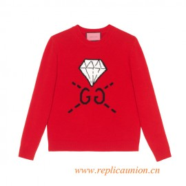 Original Qaulity Women's Intarsia Knit Top Red