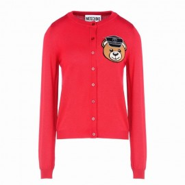 Original Qaulity Biker Teddy Bear Womens Cardigan Red