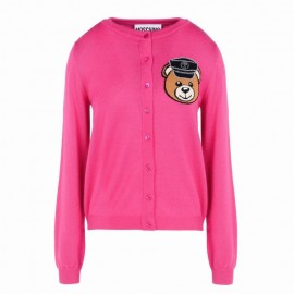 Original Qaulity Biker Teddy Bear Womens Cardigan Rose