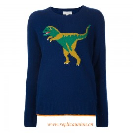 Original Qaulity Women's Multicoloured Cashmere Intarsia Dinosaur Jumper