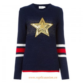 Original Qaulity Women's Navy Blue Merino Blend 'Star' Jumper