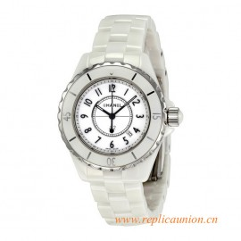 Top Quality J12 White Ceramic 33mm Quartz Ladies Watch H0968